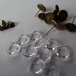 10 x 8mm studs and glass domes - Antique Bronze