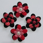 4 Black and Red Padded Flower Embellishments