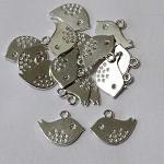 10 Silver Bird Charms