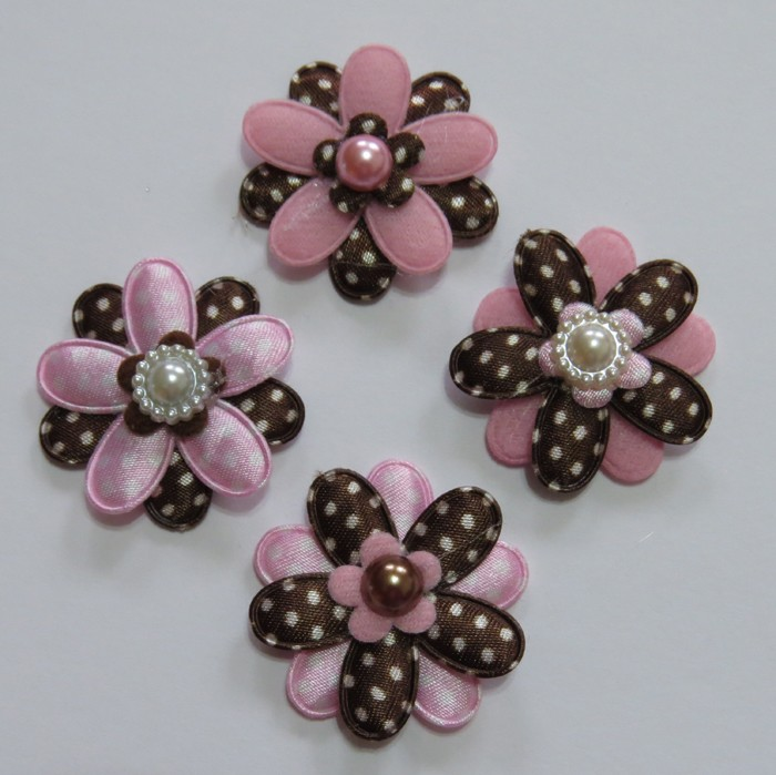 4 Chocolate and Pink Padded Flower Embellishments