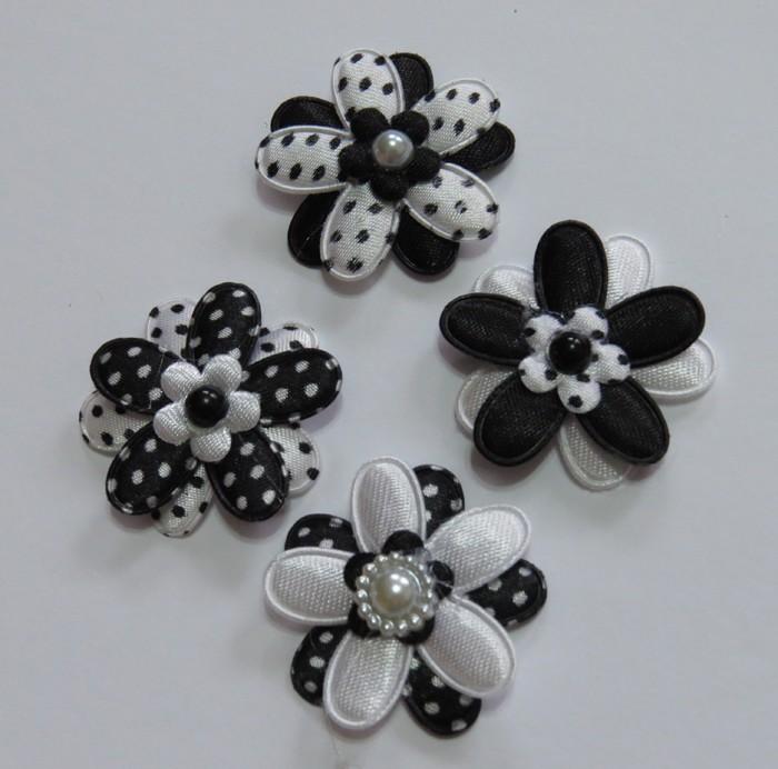 4 Black and White Padded Flower Embellishments