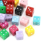 25 Mixed Acrylic Dice Spacer Beads