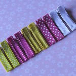 10 Specialty Ribbon Covered Grosgrain Hair Clips