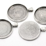 10  Antique Silver Pendant Trays Settings 25mm.