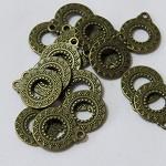 6 Round Bronze Charm / Pendants