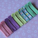 10 Specialty Ribbon Covered Grosgrain Hair Clips- Cupcakes