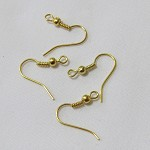 100 Gold Plated Metal Coil Wire Earring Hooks 19mm