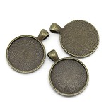 10  Antique Bronze Pendant Trays Settings 25mm.