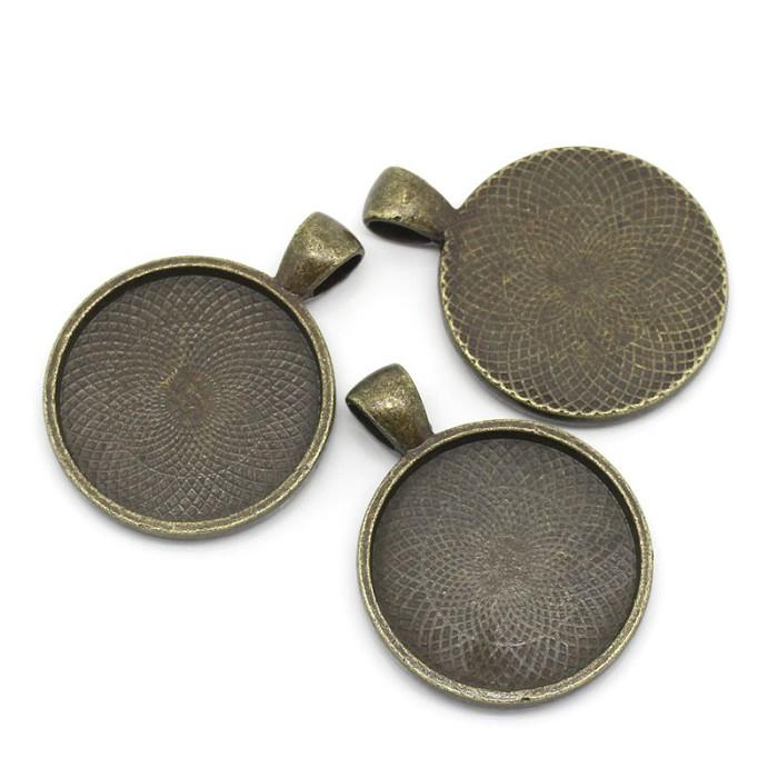 10  Antique Bronze Pendant Trays Settings 25mm.
