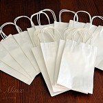 20x SMALL WHITE Kraft Paper Carry Bags w/ Paper Twist Handles