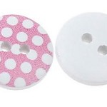 20 Pink and White Polka Dot Wooden Buttons.