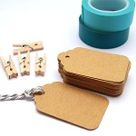 Tags 100 Scalloped Small - Brown Kraft - Blank Gift Tags