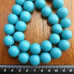 14mm Resin beads solid teal 1 x strand of 30