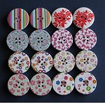 16 Mixed Printed Wood Buttons 30mm Destash Set A