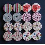 16 Mixed Printed Wood Buttons 30mm Destash Set A