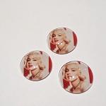 3pcs Marilyn Monroe Glass Cabochons 30mm for Pendants