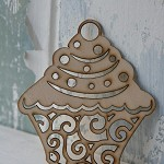 2 Wooden Cupcake Flourishes ~ Cupcake Die Cuts ~ Cardmaking