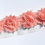 15 Apricot small shabby chiffon flowers - for millinery and hairclips.