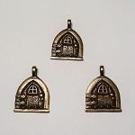 3 pcs Antique Bronze Little Fairy Door Gnome Door Pendants