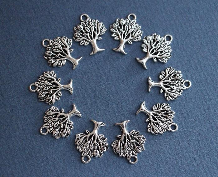 8 Tree Charm Pendants Antique Silver