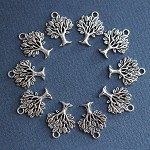 8 Tree Charm Pendants Antique Silver
