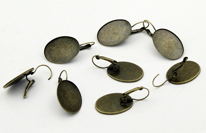 10 Antique Bronze 25mm x18mm Oval Earring Trays