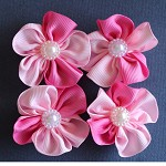 4 Pretty In Pink Ribbon Ruffled Flowers