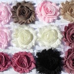 Vintage Studio 12 shabby chiffon rose flowers, for millinery craft & hairclips.