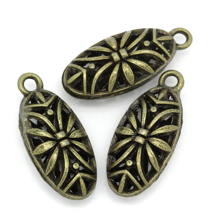 10 Antique Bronze Filigree Charm Pendants