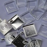 10 x 20mm SQUARE pendant trays and glass domes - Silver plated