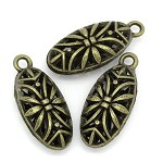 10 Antique Bronze Filigree Charm Pendants