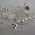 10 x lever back earrings with glue pad (5 pairs)- Silver plated