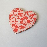 10 x Red Floral Fabric Covered Wooden Heart Embellishments
