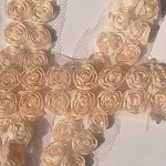 1m Almond Cream petite shabby chiffon double rose flower trim - for craft.