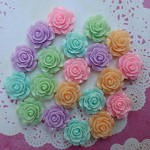 20 Resin Rose Cabochons (Garden Party)