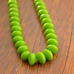 Resin Beads 7 x 10mm Small UFO shape solid lime green 1 x strand of approx 70