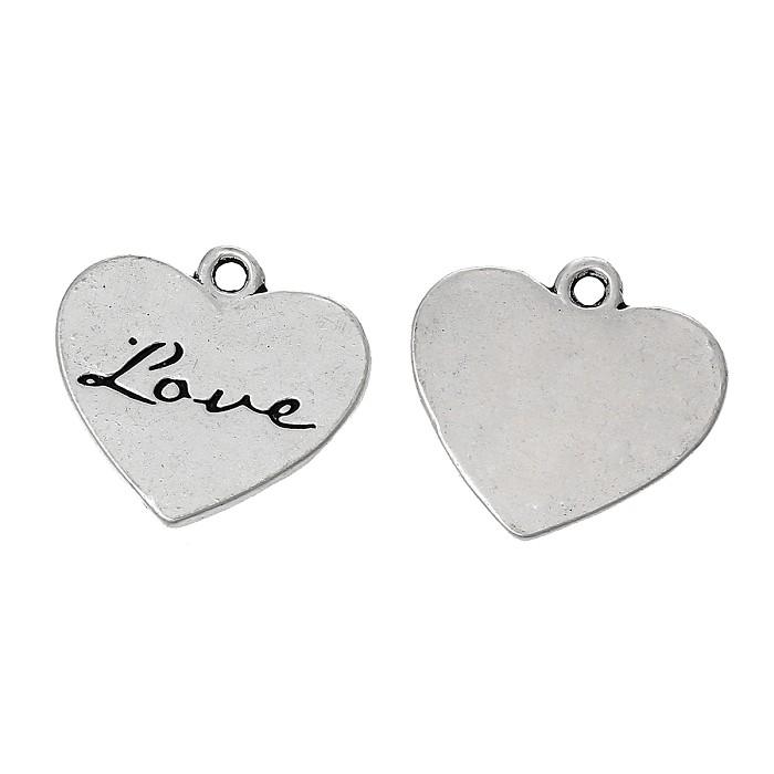 10 Antique Silver 'Love' Heart Charm Pendants