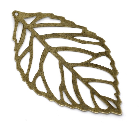10 Antique Bronze Leaf  Pendants