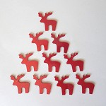 10 Red Acrylic Reindeer shape embellishment