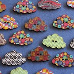 10 Assorted Print Design Cloud Wooden Buttons