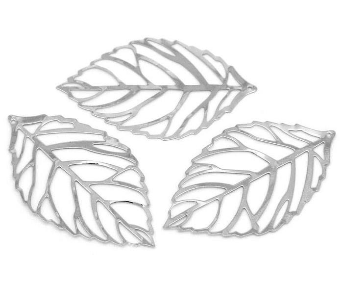LAST SET  10 Silver Plate Leaf  Pendants