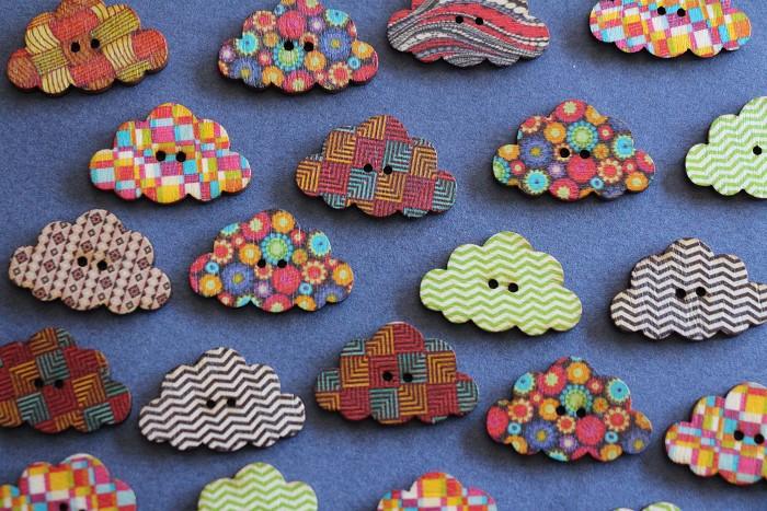 10 Assorted Print Design Cloud Wooden Buttons