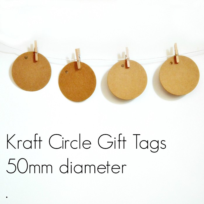 Kraft Blank Retro (100) Medium Circle Gift Tags Unthreaded DIY Craft Supplies