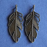 2  Antique Bronze Feather Pendants