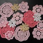 15 Crochet Doilies Embellishments Pinks