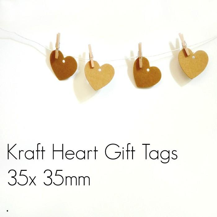 Kraft Blank Retro (20) Small Heart Gift Tags Unthreaded DIY Craft Supplies