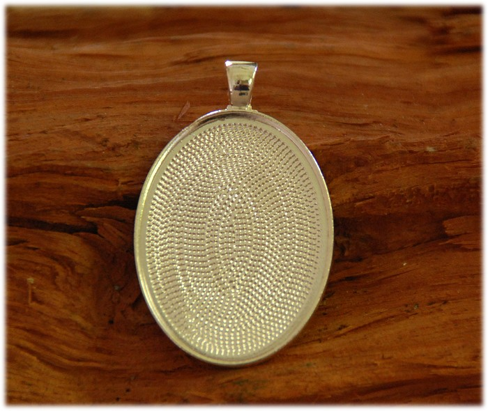 10 x Oval Shape Pendant Trays Silver color 30X40mm
