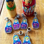 6 Blue Babushka Doll double sided charms