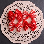 4  Red Polka Dot Grosgrain Ribbon Bows- 2 styles- Christmas