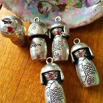 5pcs Silvertone Japanese Doll Charms